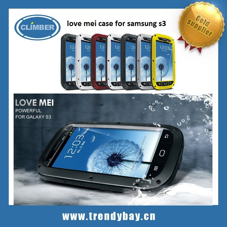 protective shockproof aluminum waterproof taktik case love mei case for samsung galaxy s3