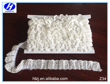 Hongtai new producing fashion cotton lace trim/gather lace trim