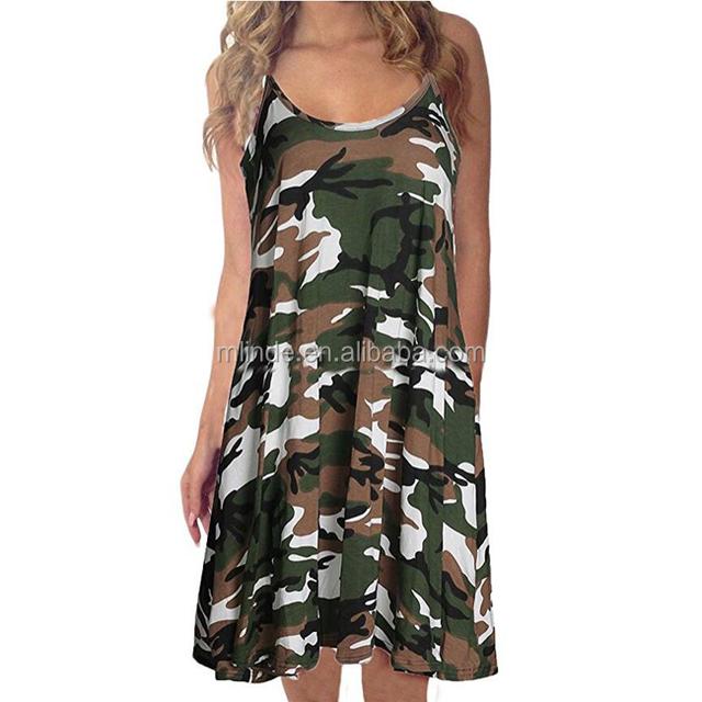 Women Sexy Camouflage Shirt Dress Sleeveless Irregular Swing Knee Design Camo Print Sexy Fashion Tunic Tank Top Dress