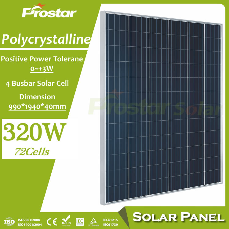 Prostar 320w solar panel multicrystalline photovoltaic for renewable energy systems