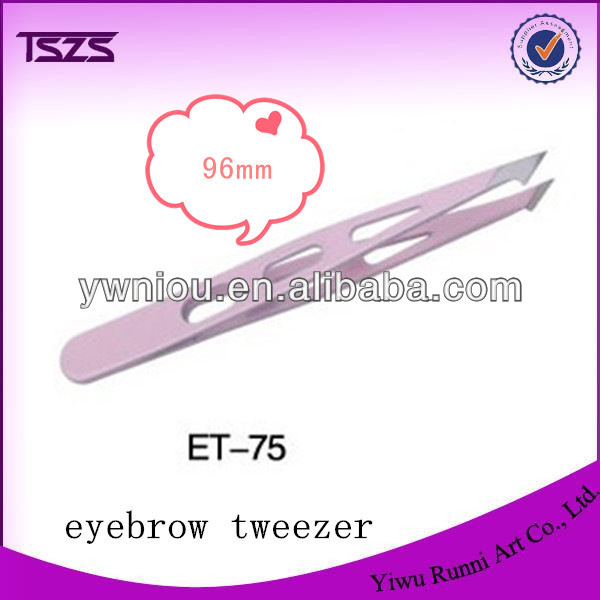 Eyebrow Tweezers SLANTED Precision Tip 3 HOLE Design Tweezer