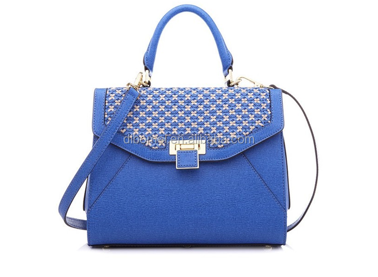 blue color new design hot sell fashion leather handbag for women