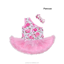 Pretty children girls princess dance party shoulder dress hot sale OEM lace tutu dress with head band sets for kids