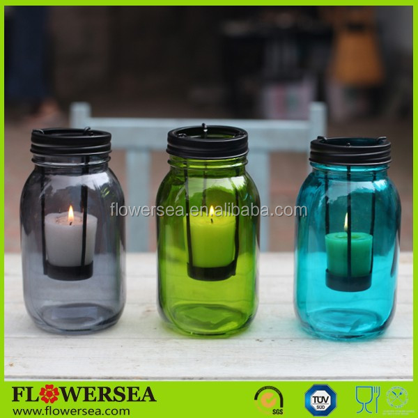 FLOWERSEA hot selling handmade tall glass candle holders for home decor and wedding table centernpieces