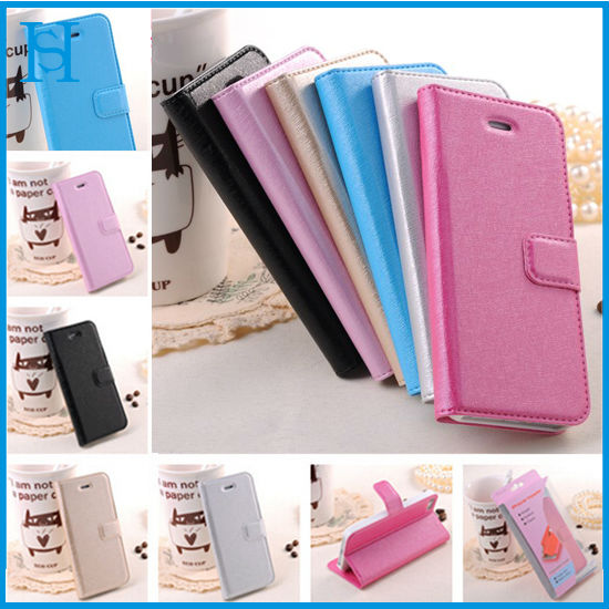 Hot selling silk leather wallet mobile phone case for iphone 5