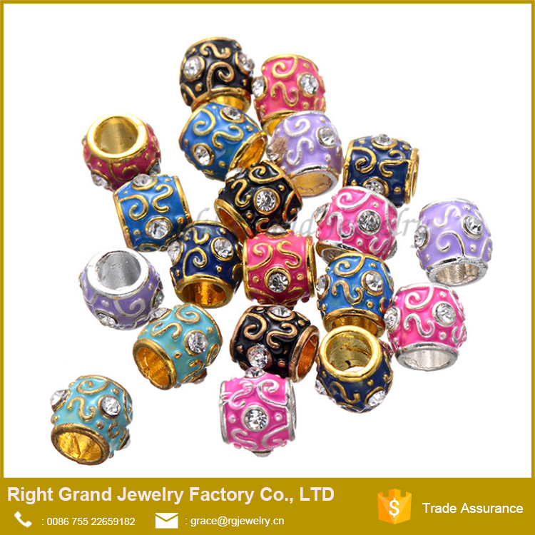 Colorful Epoxy Enamel Crystal Zinc Alloy Beads Custom Engraved Metal Beads