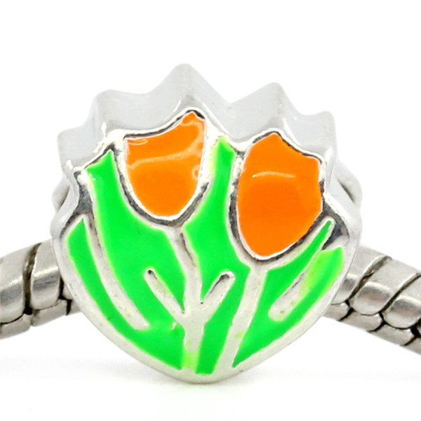 European Charm Beads Tulip Silver Plated Enamel Green Orange 12x11mm,Hole:Approx:5mm,10PCs
