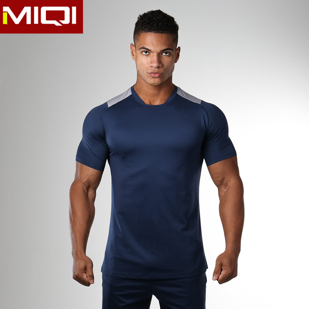 whosale fashionable fitness wear gym wear body fit t shirts with great stretch for men