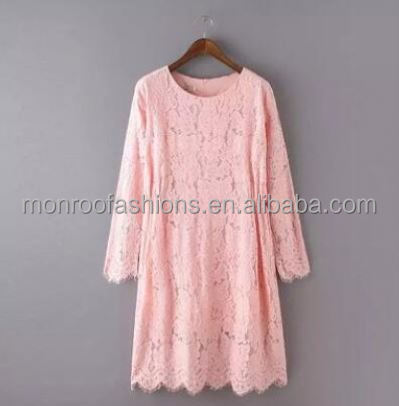 monroo long sleeve lace pink dress for women