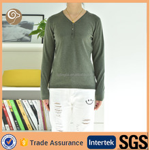 V neck wholesale knitted woolen sweater new designs for ladies