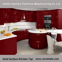 red acrylic corian kitchen counter/solid surface countertop