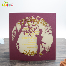 Romantic lovers pearl paper supplies laser cut Chinese creative artistic wedding invitation cards