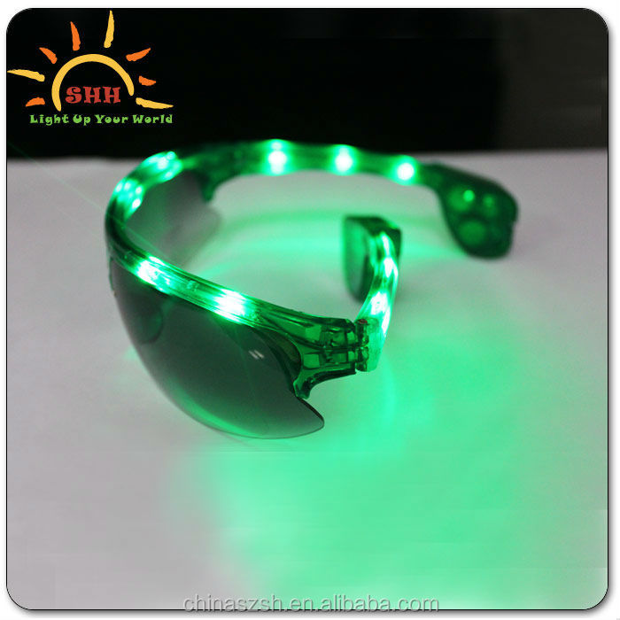 High Quality Led Flashing Light Up Half Frame Sunglasses novelty product