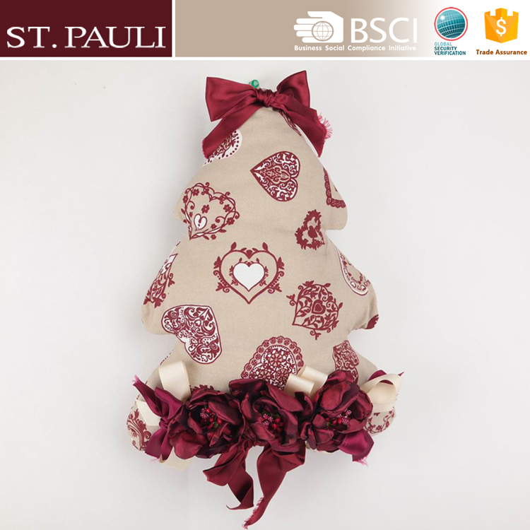 fashional rose pattern cotton fabric stuffed tree shape pillow ornament christmas decoration products with bowknot