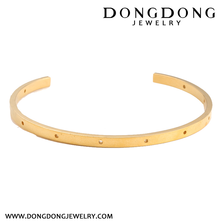 Hot sale OEM design notch hollow holes single rose gold charming bracelet