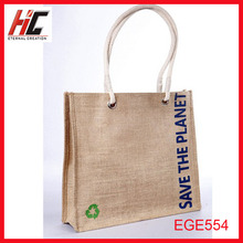 Promotion !! cheap printed reusable jute gunny bags handle shopping bag