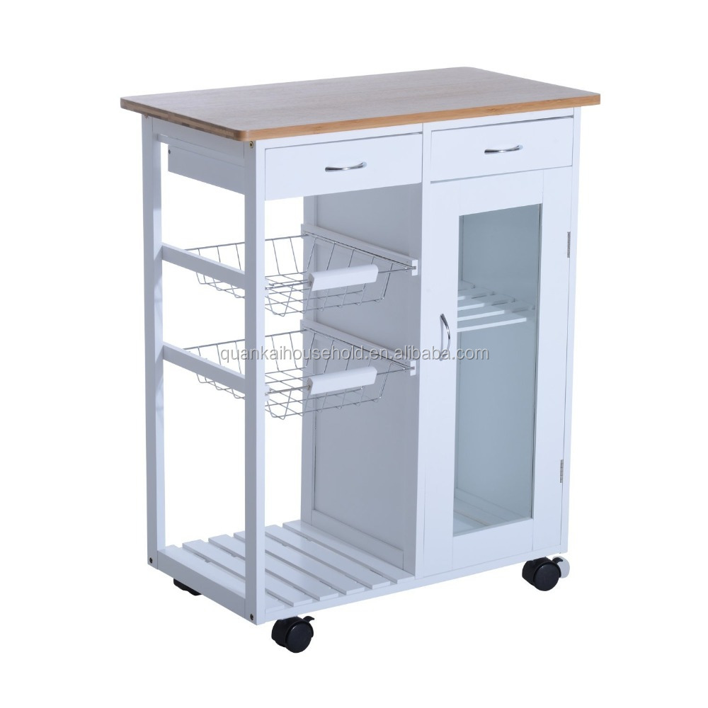 Rolling Kitchen Trolley Serving Cart with Drawers and Cabinet