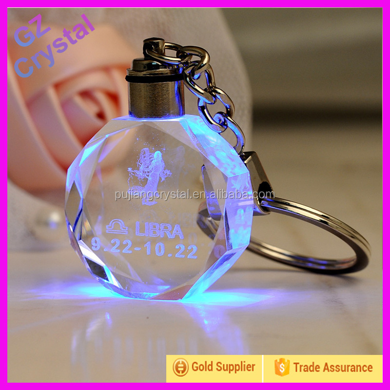 3D Laser Engraving Photo Crystal Glass Key Chain