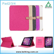 New design For iPad glitter leather case / Folio leather case for iPad 2 3 4 Pouch