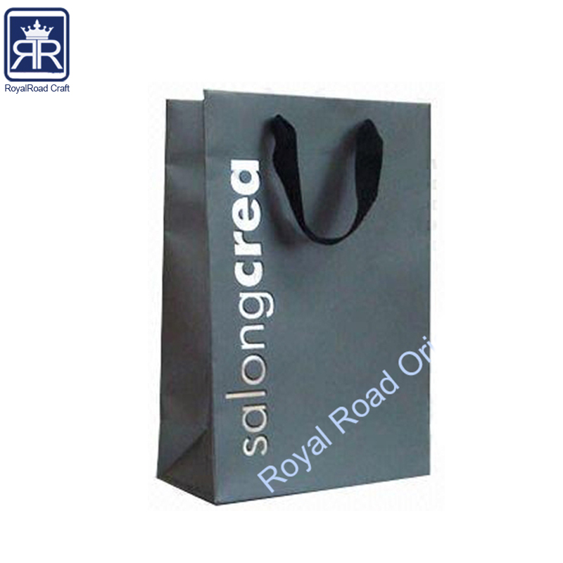 foil silver stamped logo Flat folding gift dark color packaging bag with you size and Printing