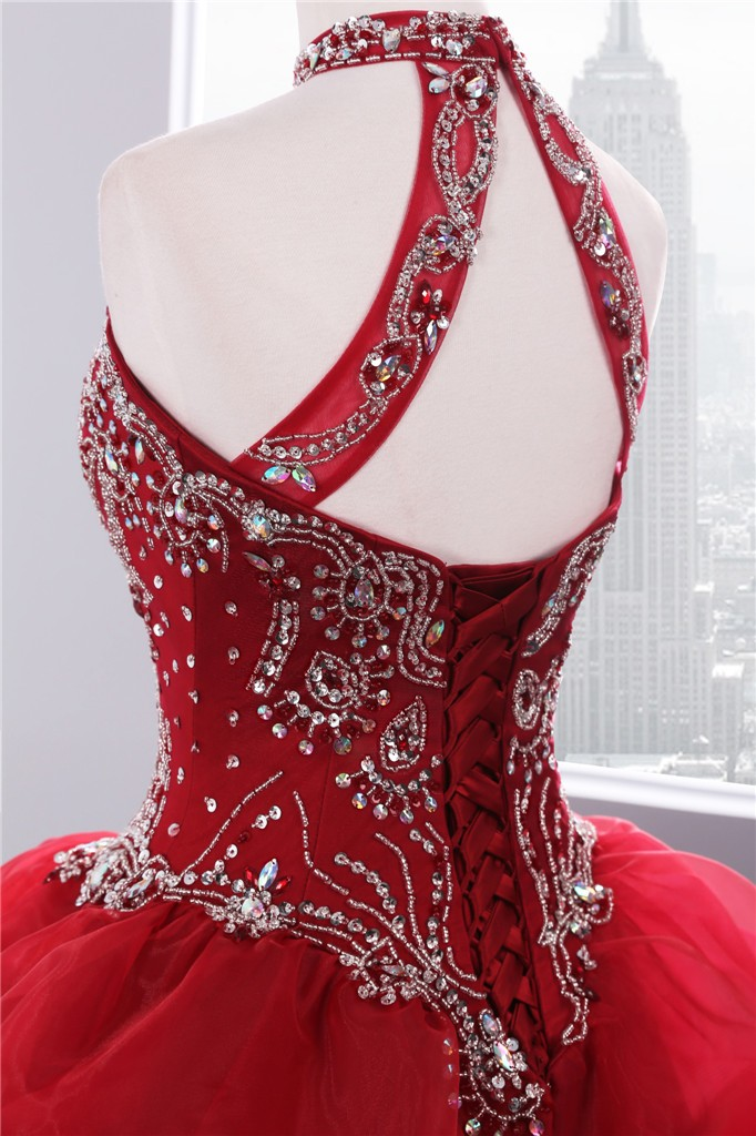 2018 Dramatic Quinceanera gowns Neck line Beaded Appliques Red Organza quinceanera dress
