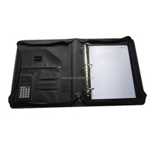 Zipper Ring Binder Leather A4 Portfolio File Folder with Calculator