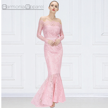 FL363 latest photos scalloped neckline mermaid style off the shoulder long sleeve elegant long gown robe lace evening Party