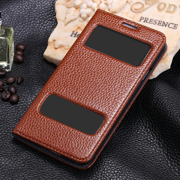 Hot Smart View Window Leather Flip Case for Samsung S5 with stand, sublimation phone cover