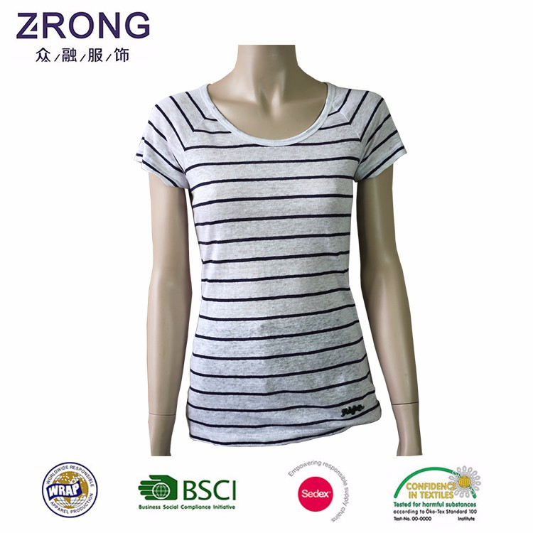 Manufacturer Supply 100% Cotton Striped T Shirt Woman Two Tone T-shirt