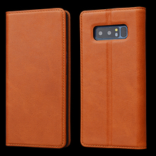 ID Window Wallet Genuine Leather Cell Phone Case For Samsung Note 8