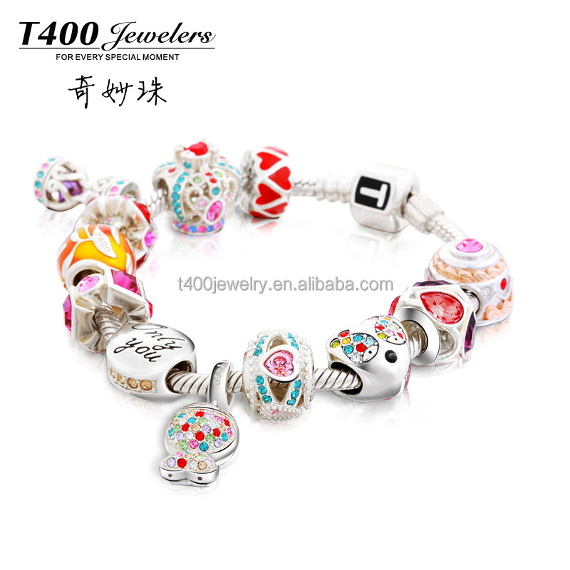 T400 Jewelry 2016 wholesale beads 925 sterling silver crystal from swarovski elements charms Bracelet QT041