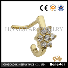 Wholesale zircon nose studs gold plated 316L stainless steel nose ring