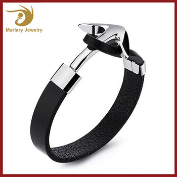 Stainless Steel Genuine Leather Bracelet For Men,Fine Jewelry Bracelet,Leather Anchor Bracelet Men