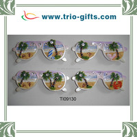 Polyresin fridge magnets glasses shape with palm tree decoration