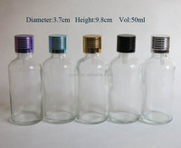 Free shipping 50ml empty clear essential oil bottle with aluminum cap, cosmetic packaging