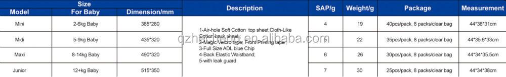 Produit chaud breathalbe coton prime sleepy couches bébé avec avant magie bande