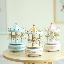 Factory wholesale delicate high quality lovely creative promotional modern European style wooden Carousel music box for girls