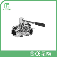 Certificated Stainless Steel Clamp 3-Way Ball Valve In Sanitary Grade From Wenzhou RiFeng