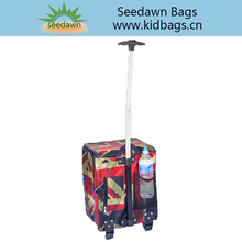 Foldable Single Rod Wheeled Trolley Grocery Shopping Bag with Removable Wheels Feet Collaposible