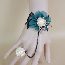 Gothic Lolita Bracelet Bridal Wedding Venetian Retro Lace Bracelet With Ring Slave Halloween Bracelet Jewelry FL0106