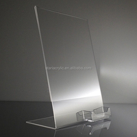 Slant Back Sign Holder With Business Card Holder Clear Acrylic Sign Holder 8.5x11 Acrylic Display Stand