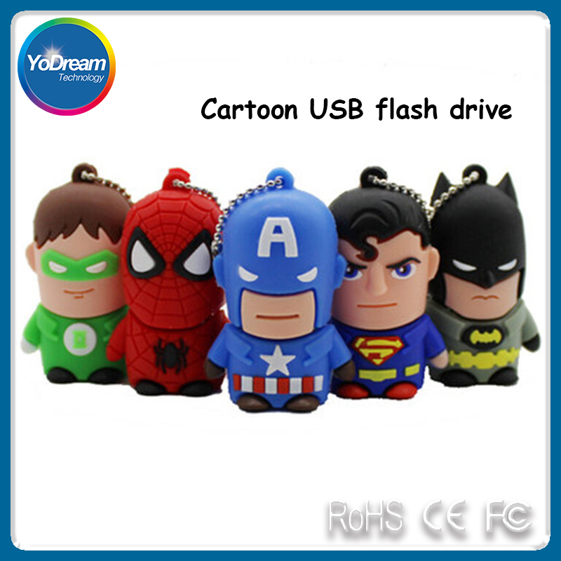 Wholesale Cartoon Mini Waterproof USB Flash Drive Marvel Comics Super Heroes Character 8G 16G USB Storage Pen Drive Thumb Drive