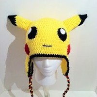 pikachu crochet knitted infant kids newborn baby hat beanie with ear flap