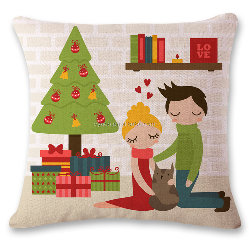 New style European and American lovely Christmas style linen pillow cover car cushion