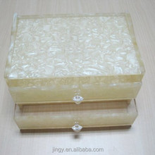 Marbling crystal handle acrylic royal tissue box with 2 drawers