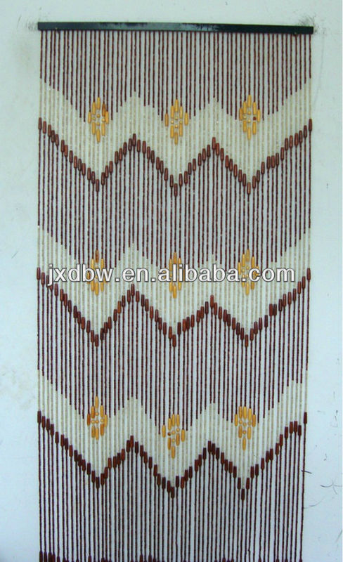 String Painted Bambo Door Curtain With Beads