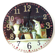 12inches 30 cm wooden round retro wall clock vintage with beautiful picture for bar and living room