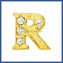 Manufacture cheap decorative glass floating memory locket charms cheap sale small metal alphabet letters for jewelry