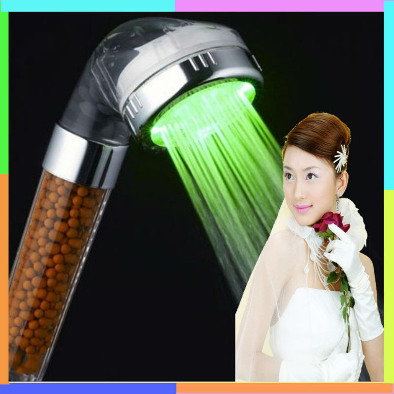 C-138-1LED color change beautiful girls glass steam rain hand shower head