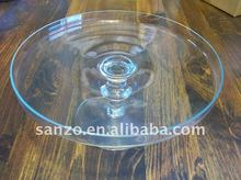 clear hand-made lead free glass Cake plate